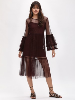 KOOVS Frill Sleeve Mesh Dress...