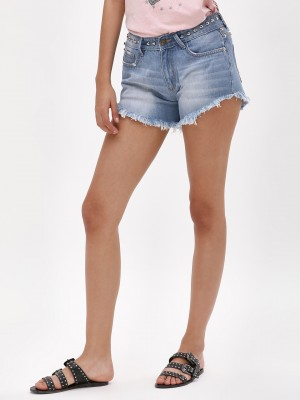 K DENIM Studded Frayed Denim S...