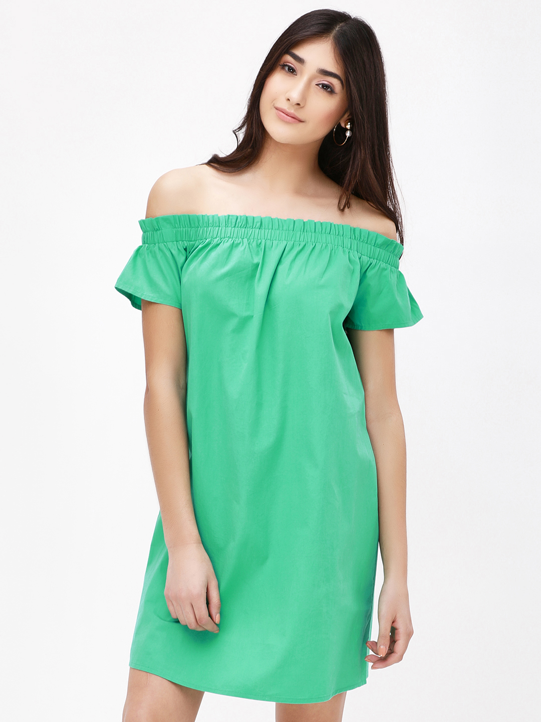 KOOVS DEEP GREEN Off Shoulder Mini Dress 1