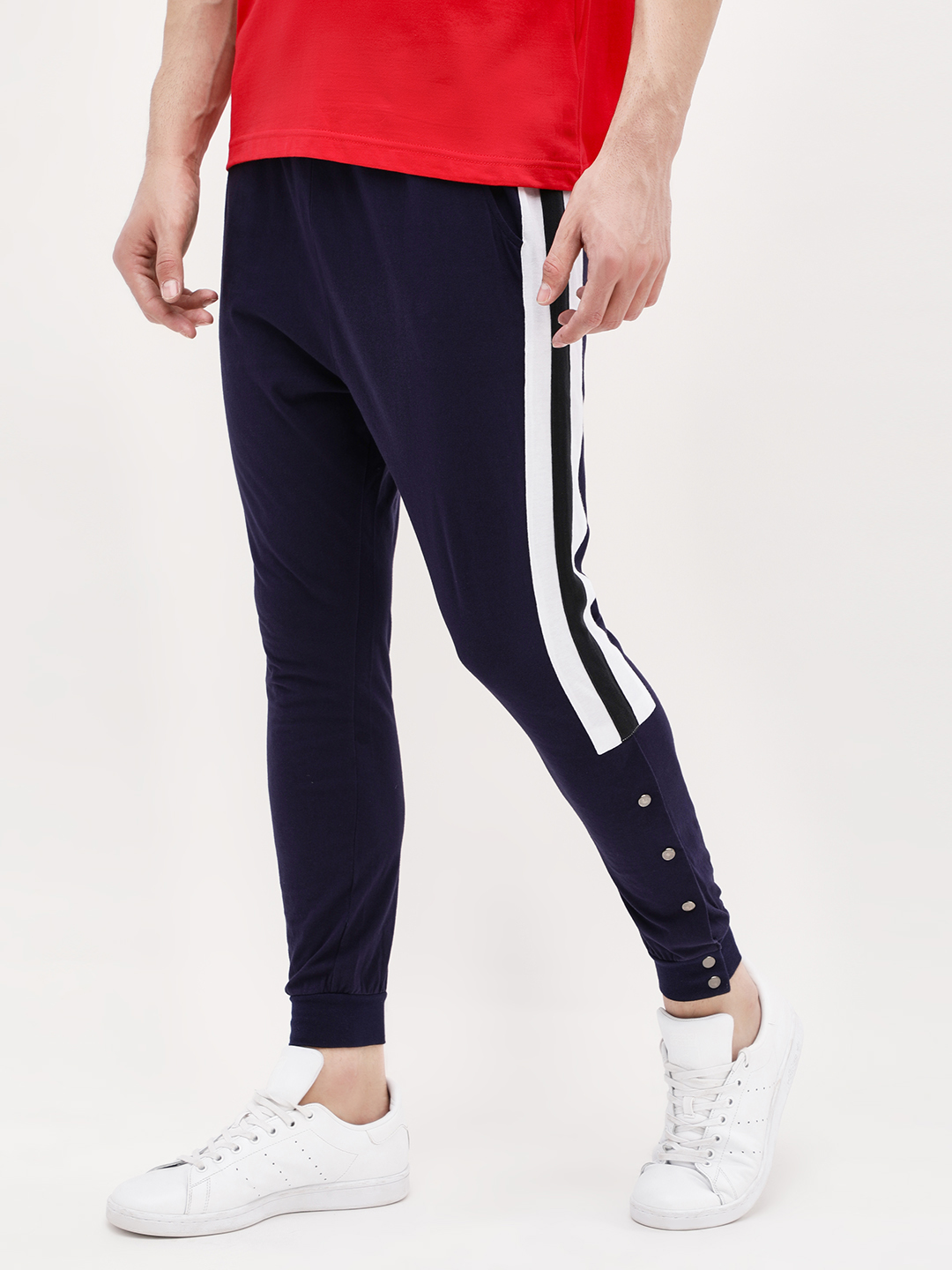 Spring Break Navy Side Tape Snap Button Joggers 1
