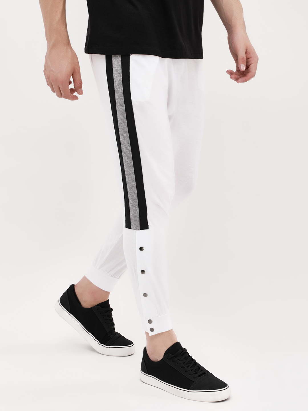 Spring Break White Side Panel Snap Button Joggers 1