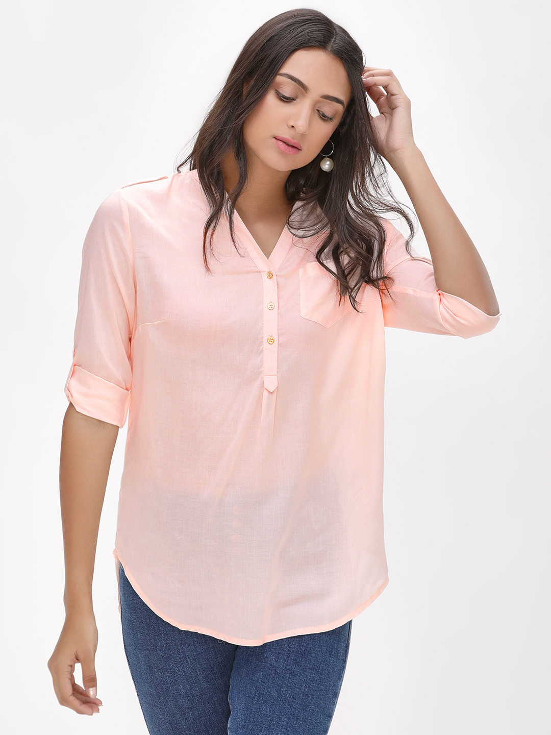 KOOVS Blush Half Placket Grandad Blouse 1