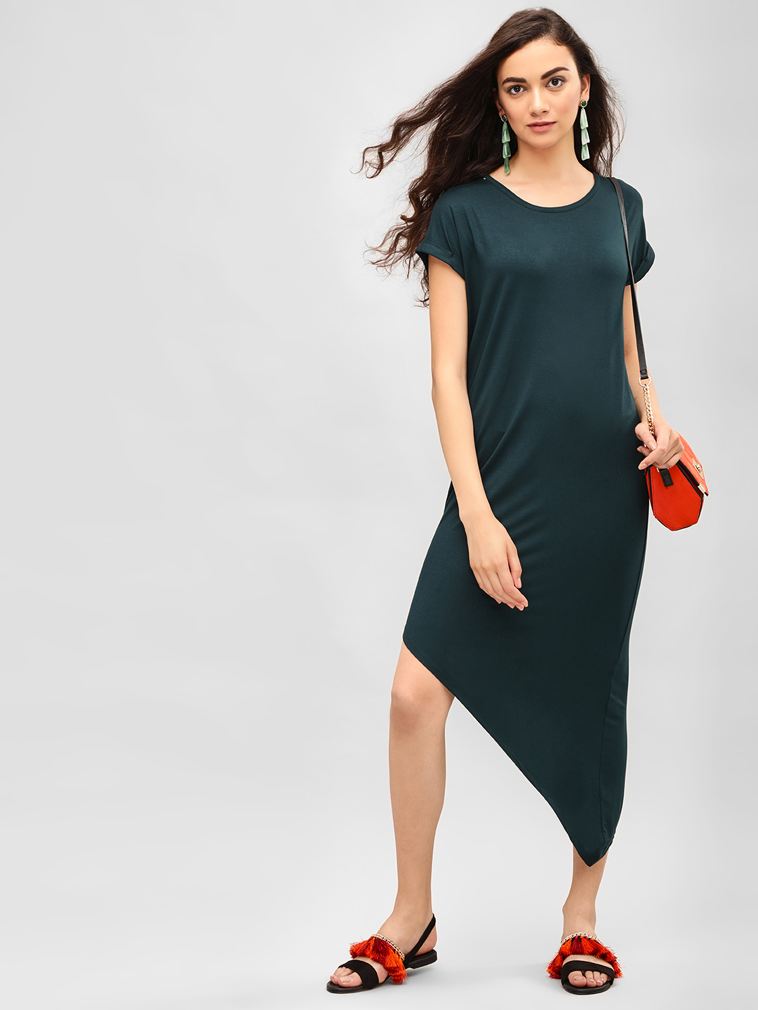 KOOVS Teal Asymmetric Hem Midi Dress 1