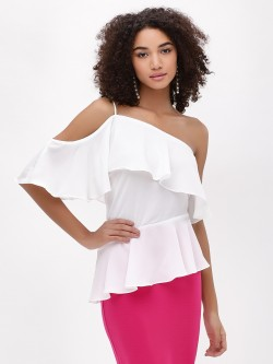 Noble Faith One Shoulder Peplum Top