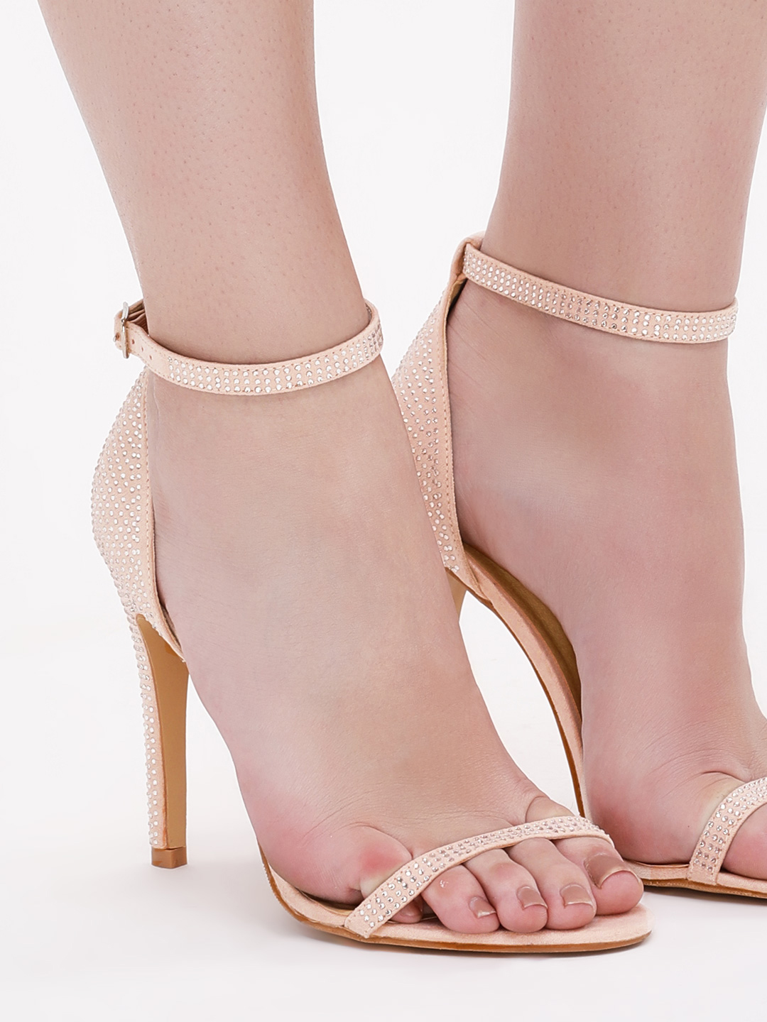 Truffle Collection Nude Rhinestone Embellished Barely There Sandals 1