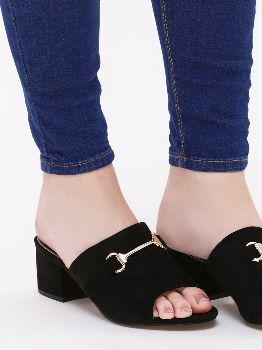 Truffle Collection Black Heeled Mules With Hardware Detail 1