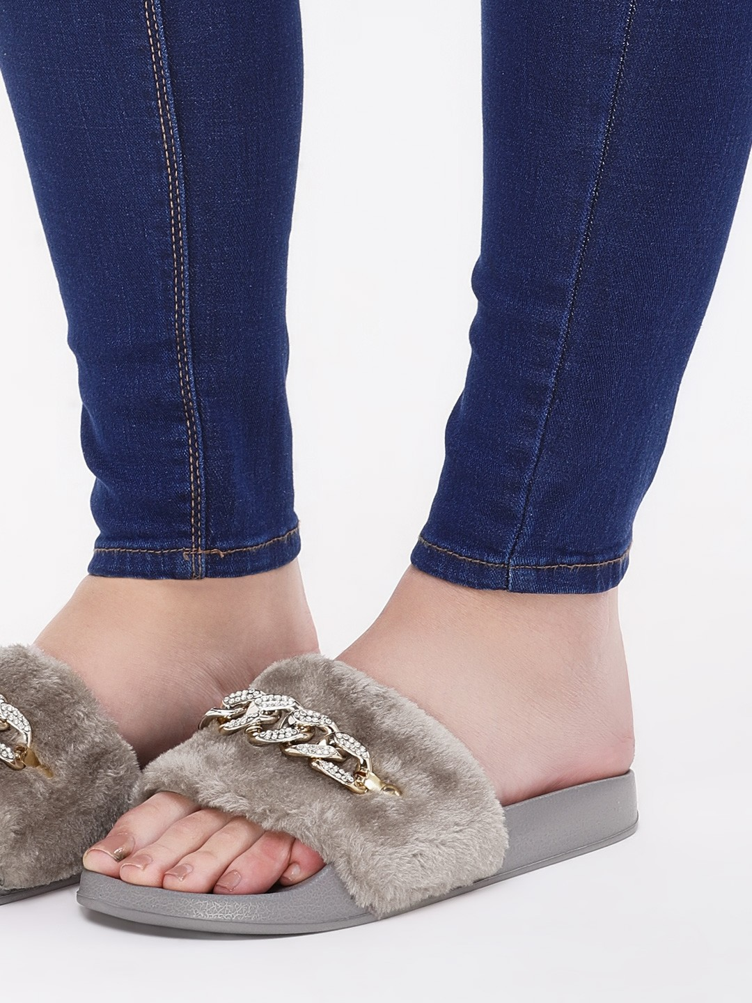 Truffle Collection Grey Furry Sliders With Chain Detail 1