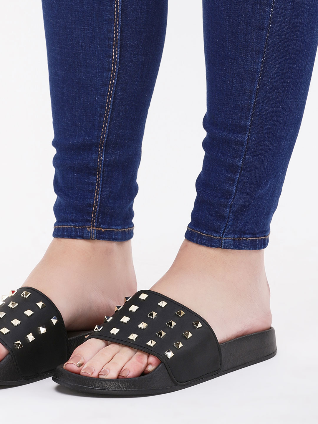 Truffle Collection Black Studded Pool Sliders 1