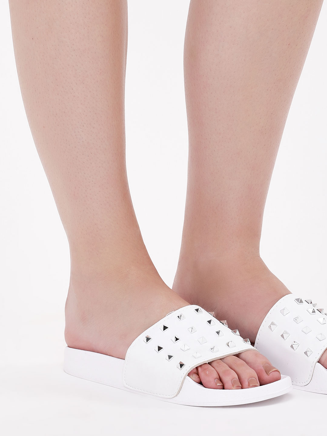 Truffle Collection White Studded Pool Sliders 1
