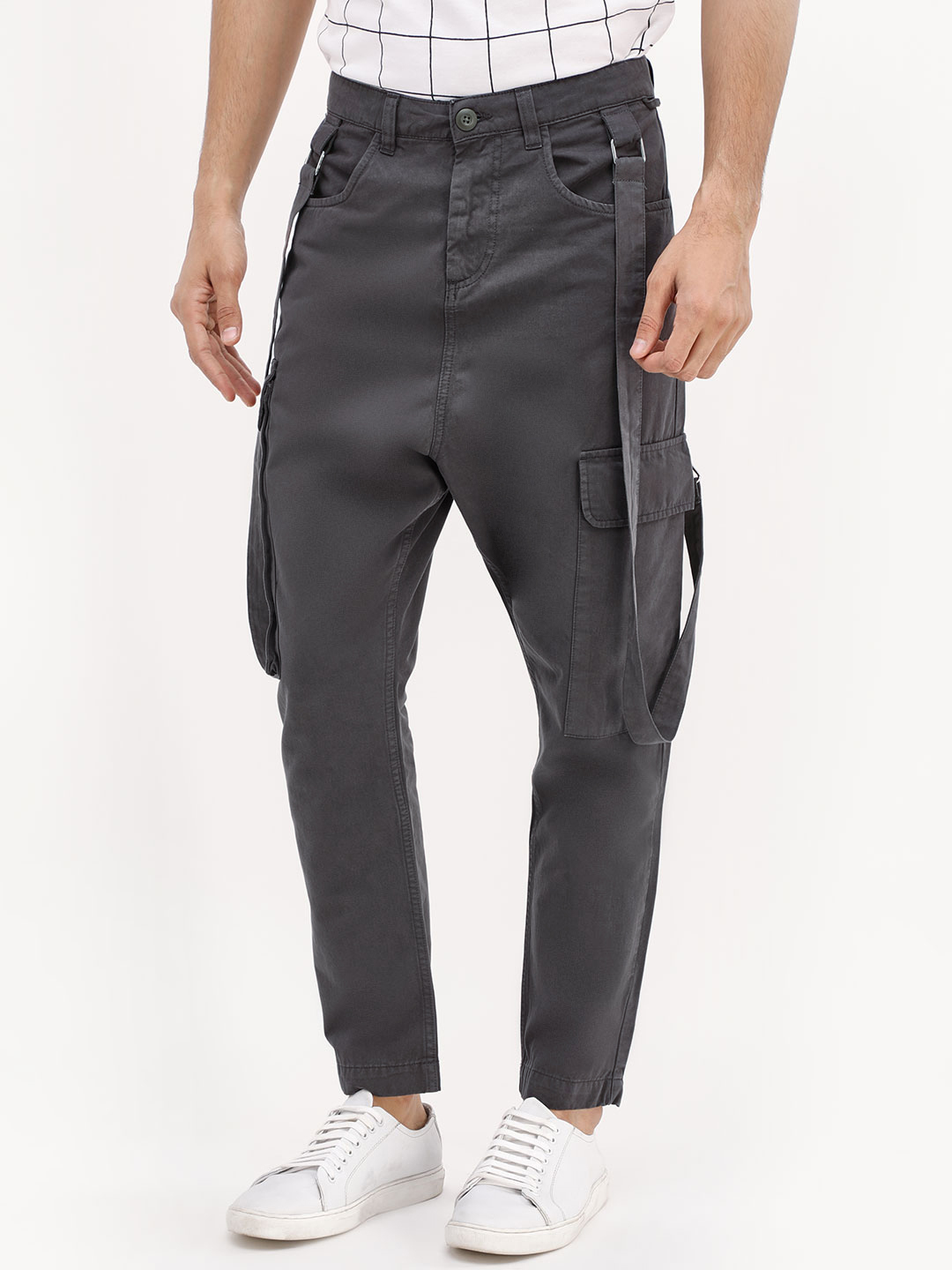 Blue Saint Grey Cargo Trousers With Suspenders 1