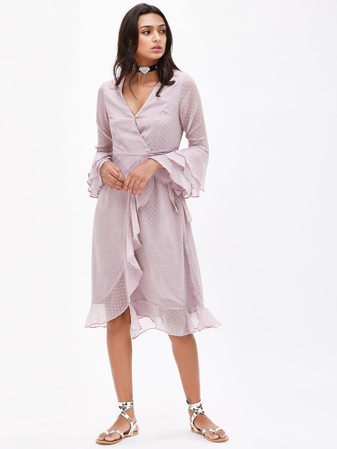 KOOVS Purple Frill Wrap Midi Dress 1