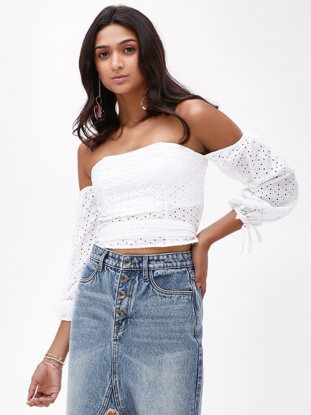 KOOVS White Broderie Cropped Bardot Top 1