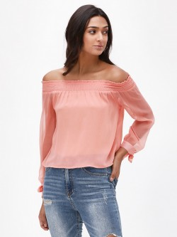 KOOVS Smocked Off Shoulder Top