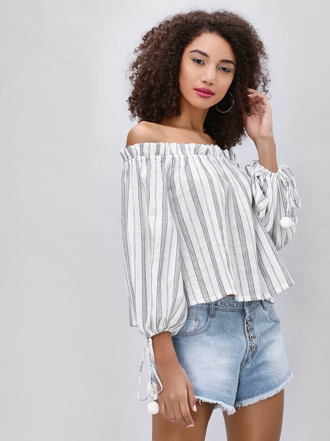 KOOVS Striped Off Shoulder Top...