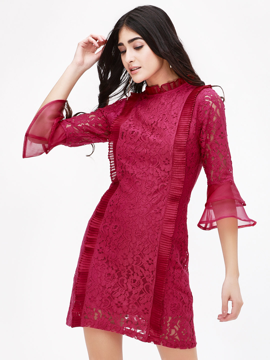 KOOVS Pink Lace Mini Shift Dress 1