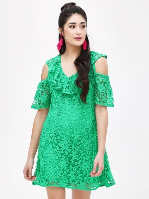 KOOVS Lace Cold Shoulder Dress...