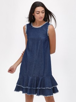 K Denim KOOVS  Ruffle Hem Denim Dress