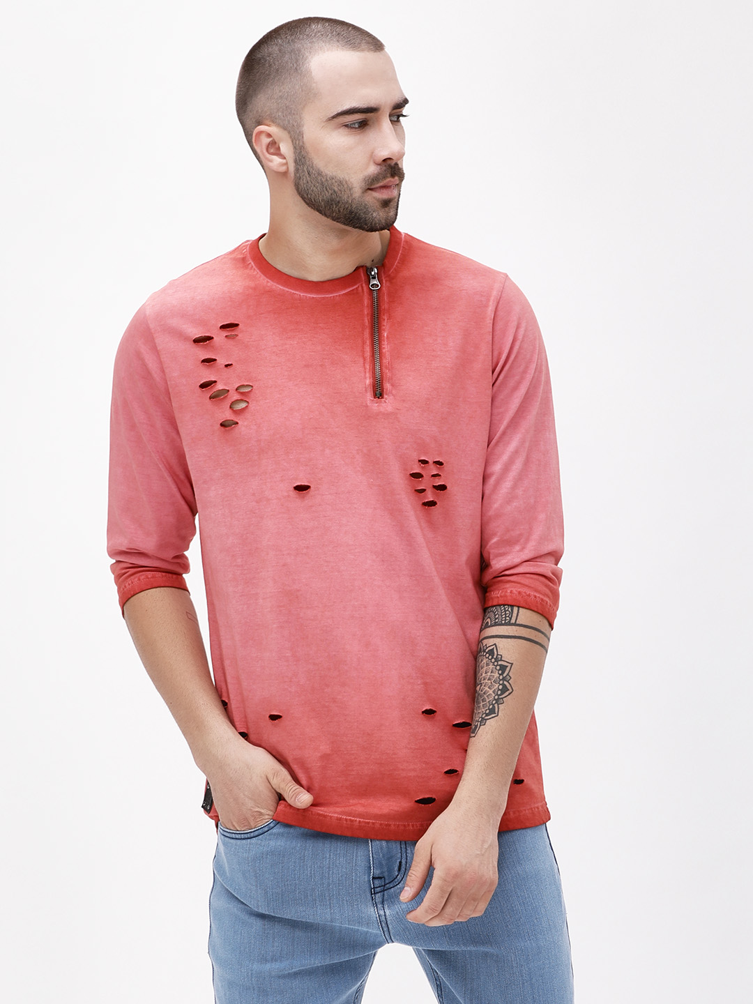 Garcon Red Pigment Wash Zippered Distressed T-Shirt 1