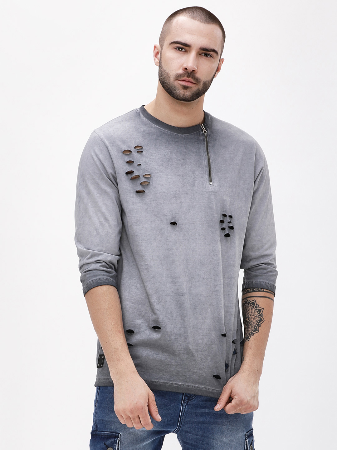 Garcon Grey Pigment Wash Zippered Distressed T-Shirt 1