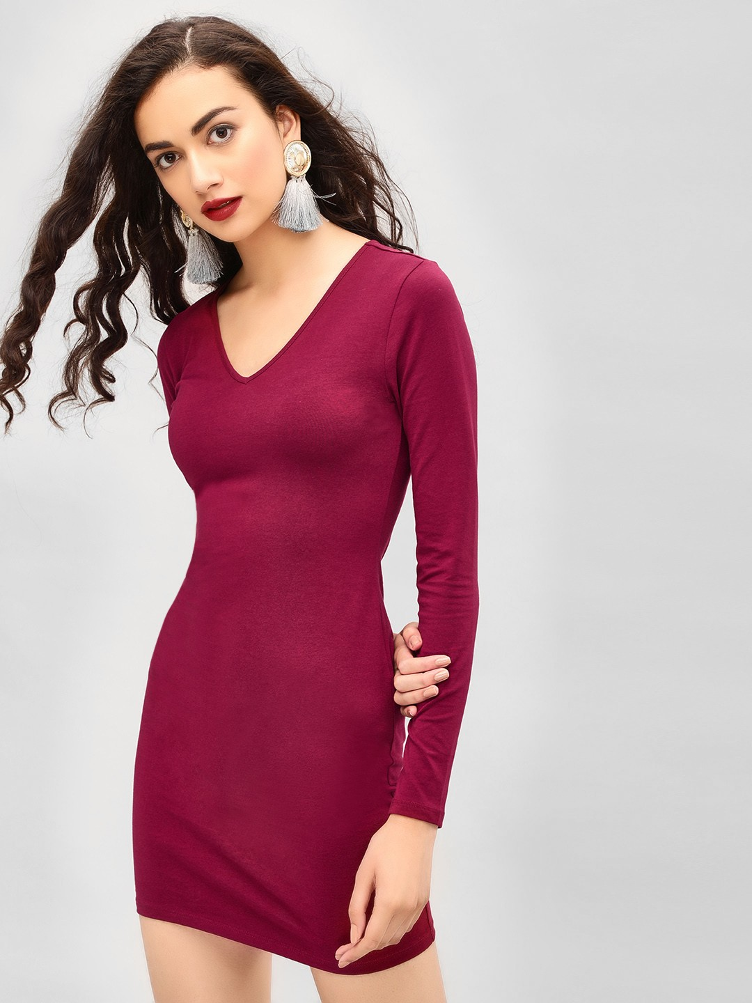 KOOVS Port V-Neck Bodycon Mini Dress 1