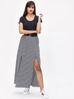 KOOVS Striped Front Slit Skirt...