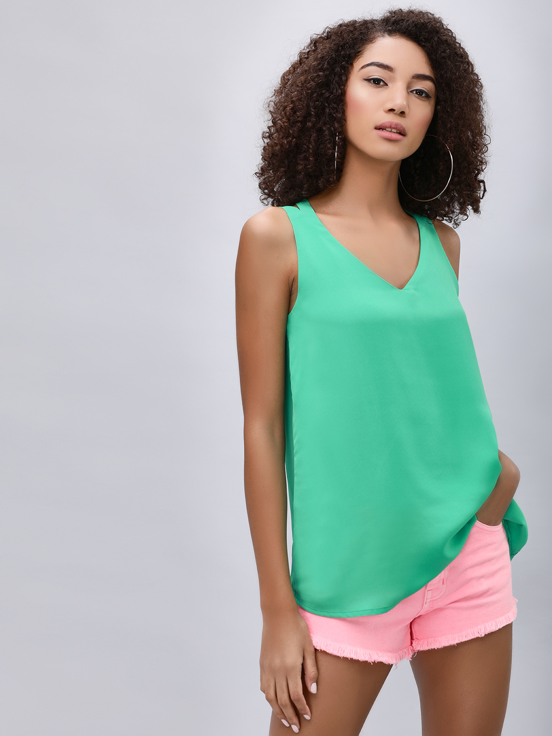 KOOVS EMERALD GREEN Cross Back Cami Top 1