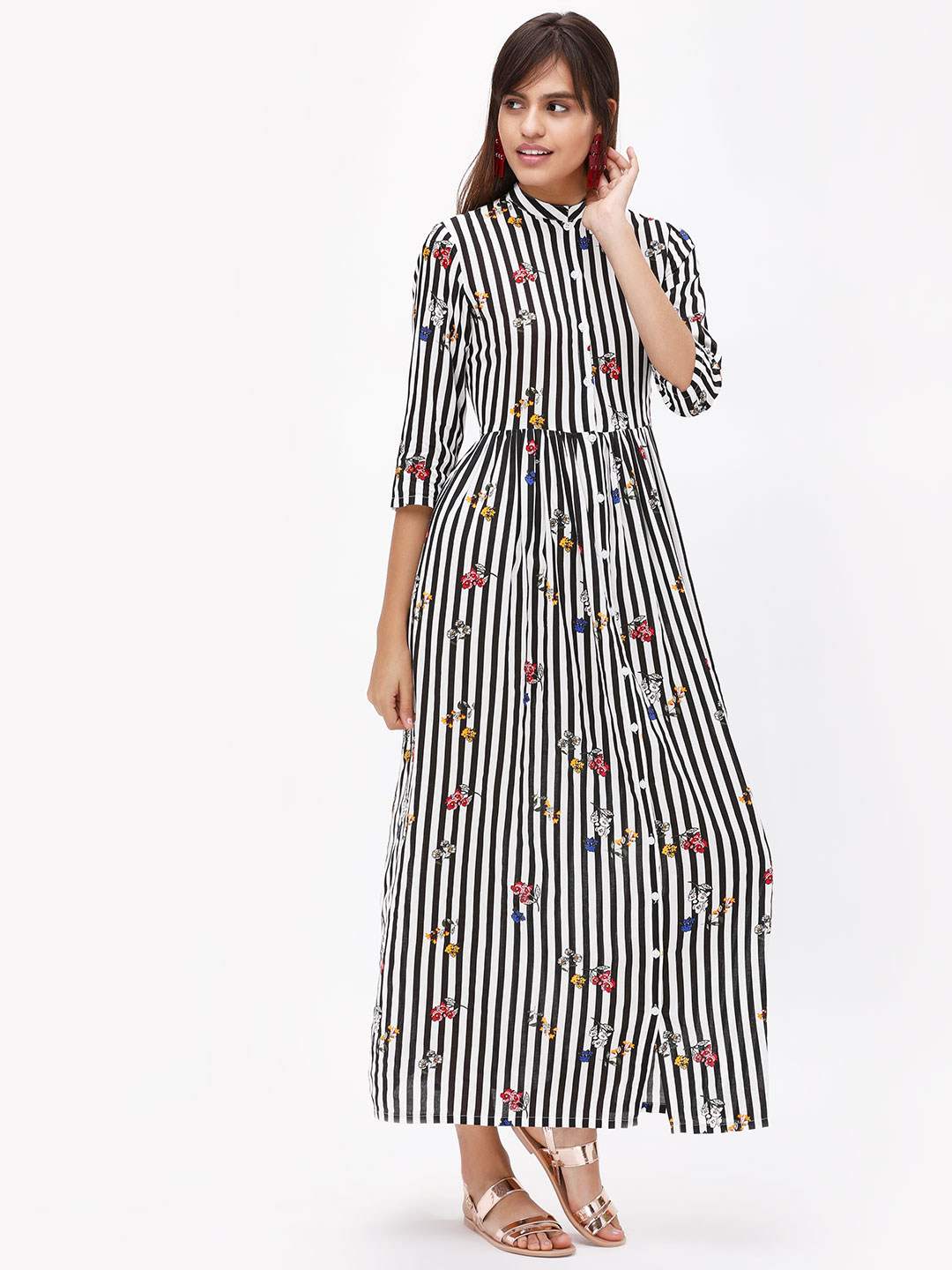KOOVS Stripes Floral Shirt Maxi Dress 1