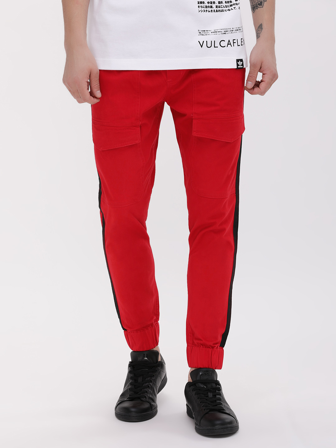 KOOVS Red Skinny Cargo with Side Tape 1