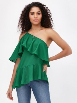 Noble Faith One Shoulder Ruffle Top