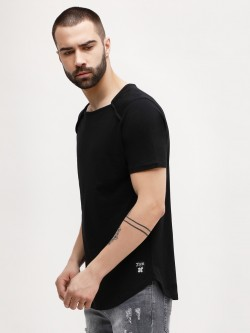 Kultprit Square Neck Curved Hem T-Shirt