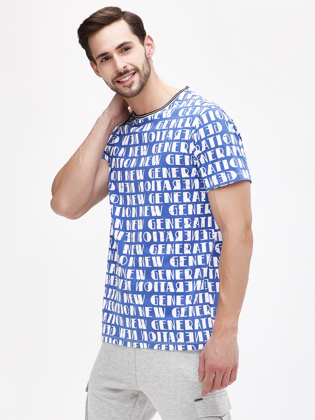 KOOVS Blue New Generation Slogan T-Shirt 1