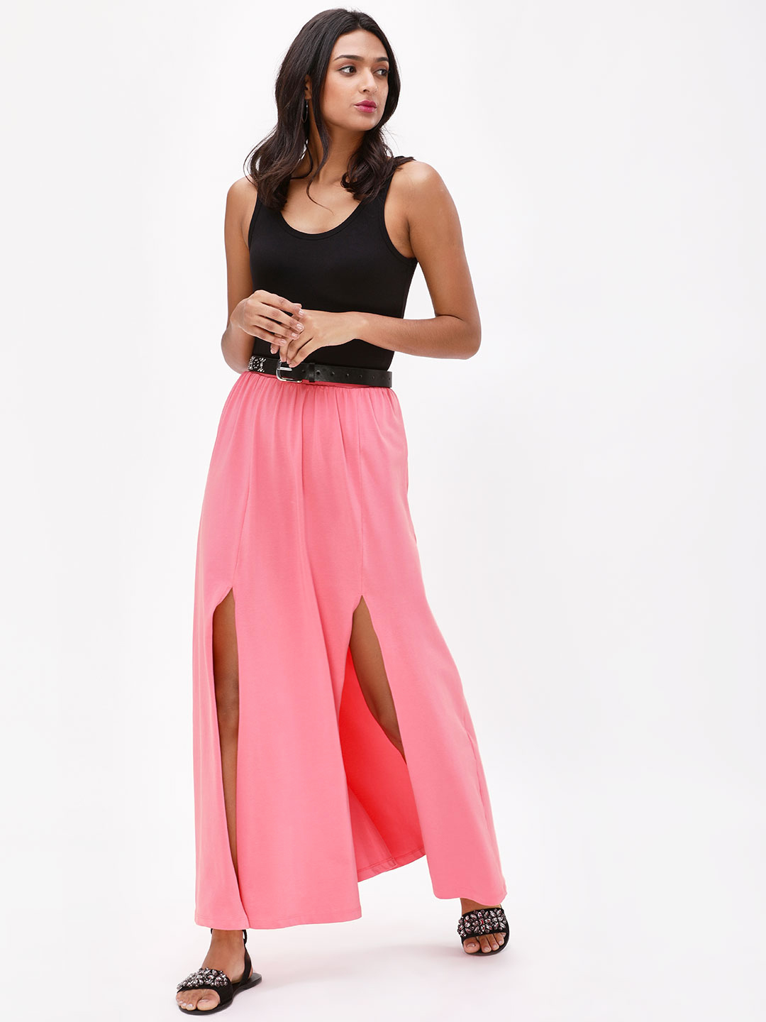 KOOVS Mid Pink High Slit Maxi Skirt 1