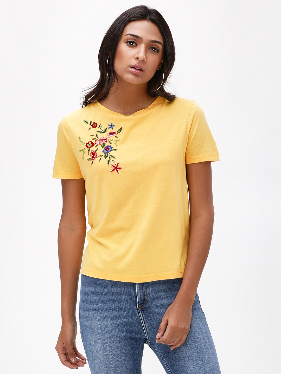 Sbuys Yellow Floral Embroidered Top 1