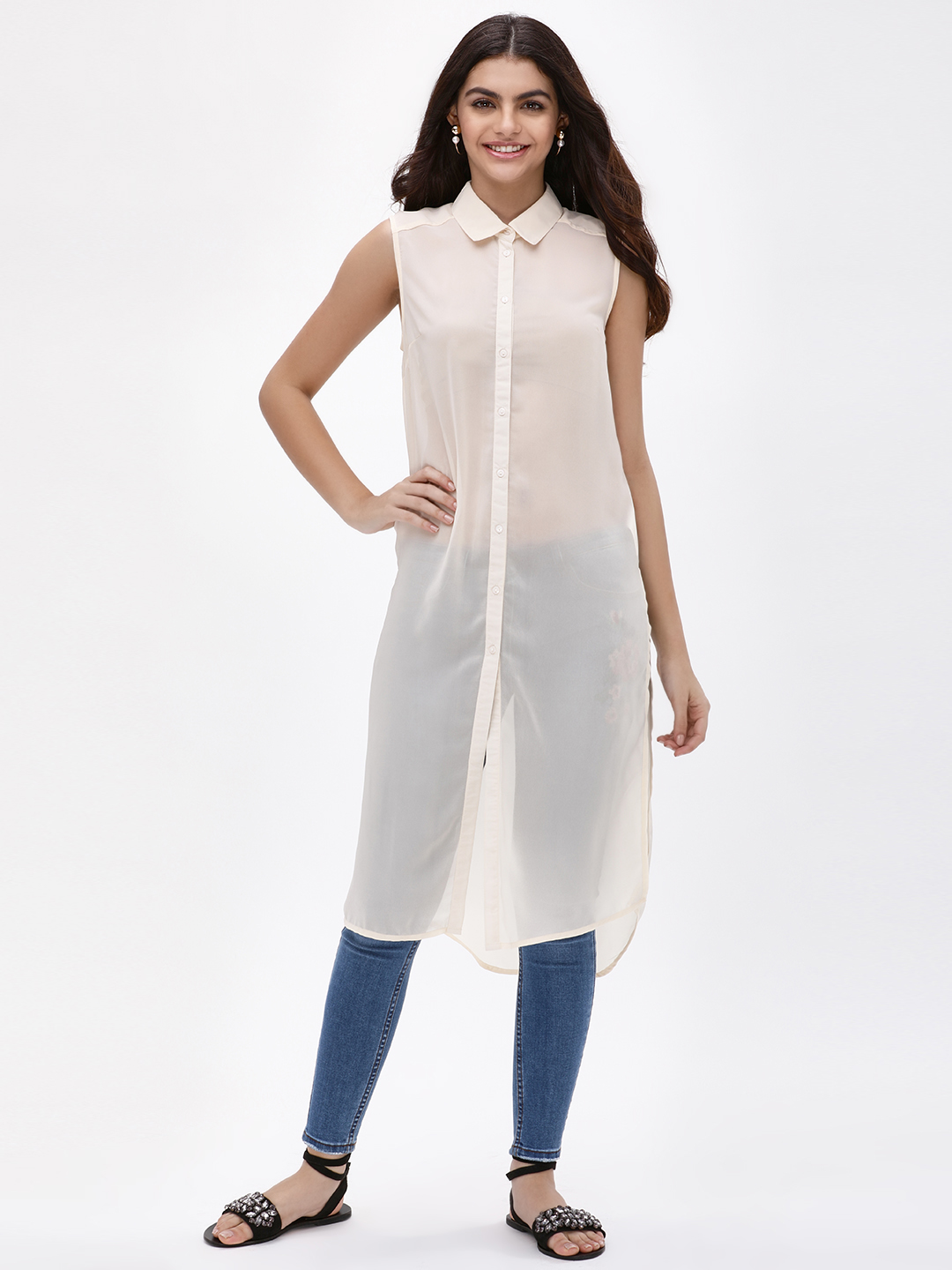 KOOVS White Sheer Sleeveless Longline Shirt 1