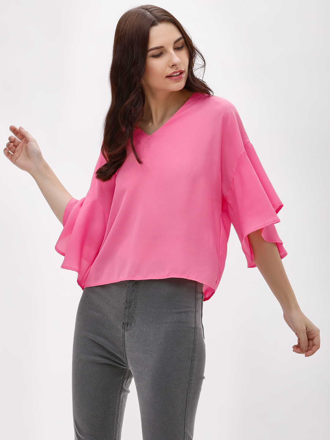 KOOVS Pink V-Neck Flared Sleeve Top 1