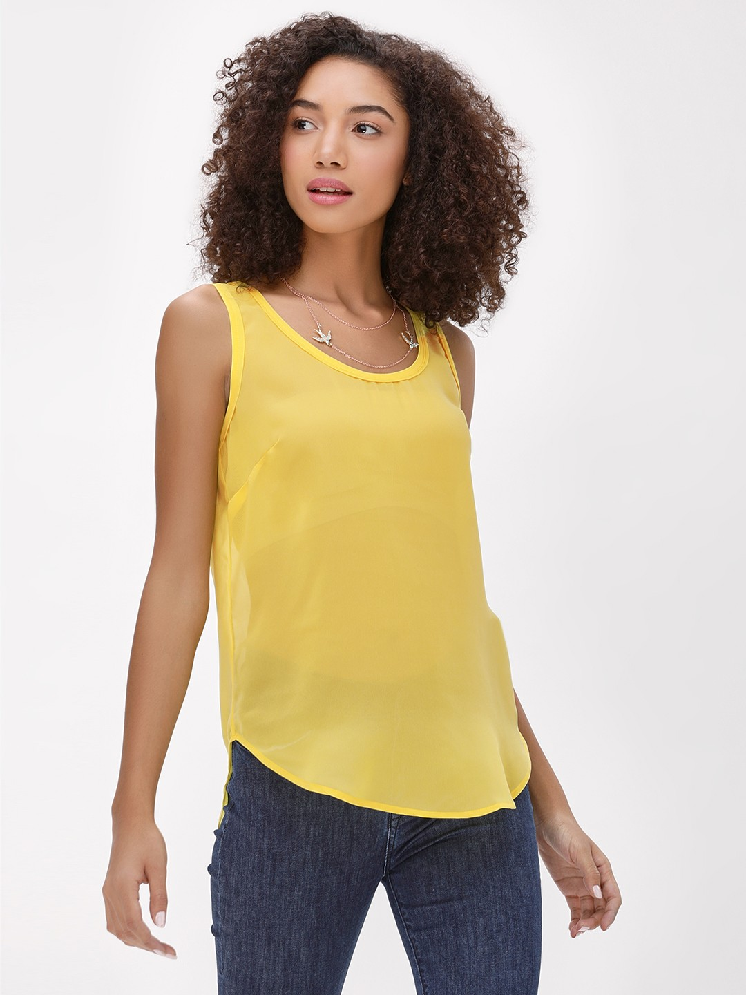 KOOVS Yellow Basic Round Neck Vest 1