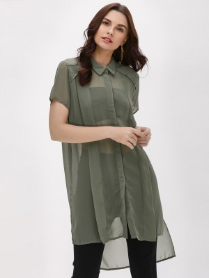 KOOVS Asymmetric Hem Tunic Top...