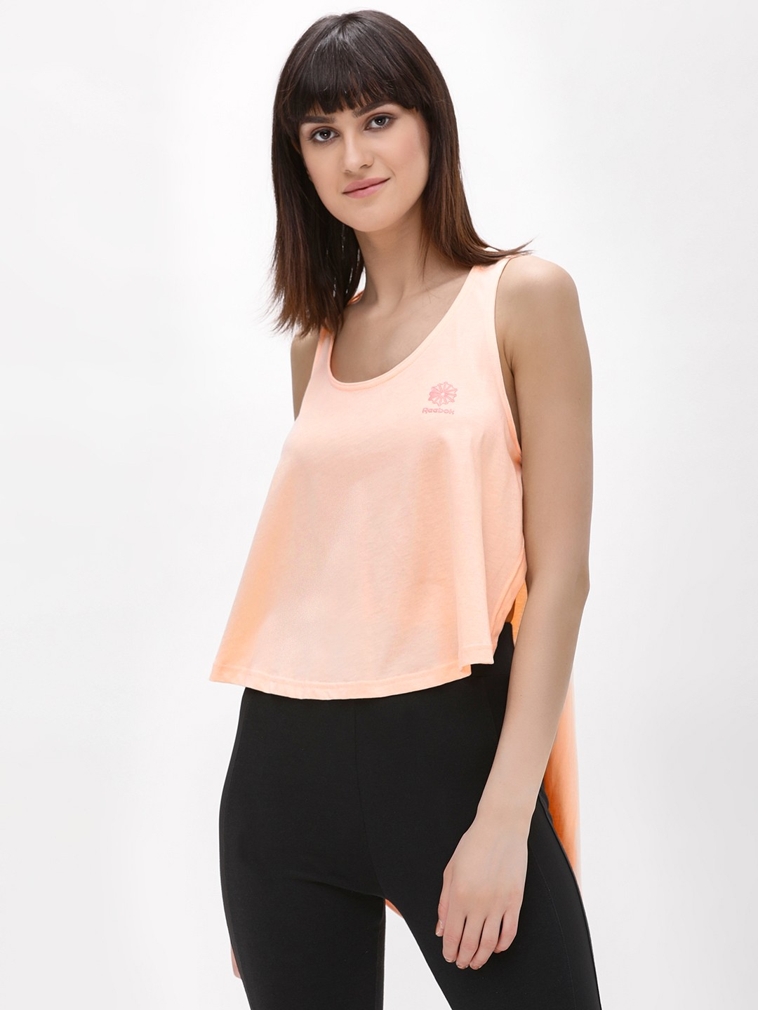 REEBOK Light Pink Ef High Low Tank Top 1