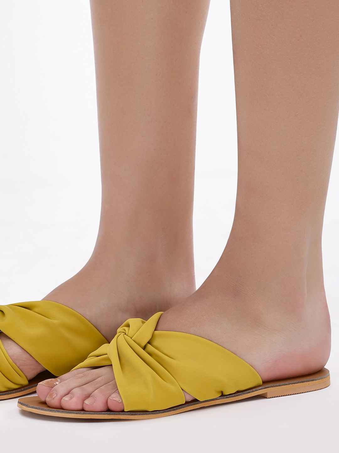 CAi Yellow Sliders With Cross Strap Detail 1