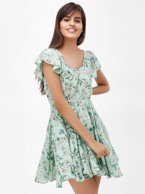 KOOVS Floral Print Mini Dress...