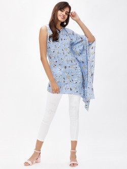 Oliv Printed Asymmetric Tunic Top