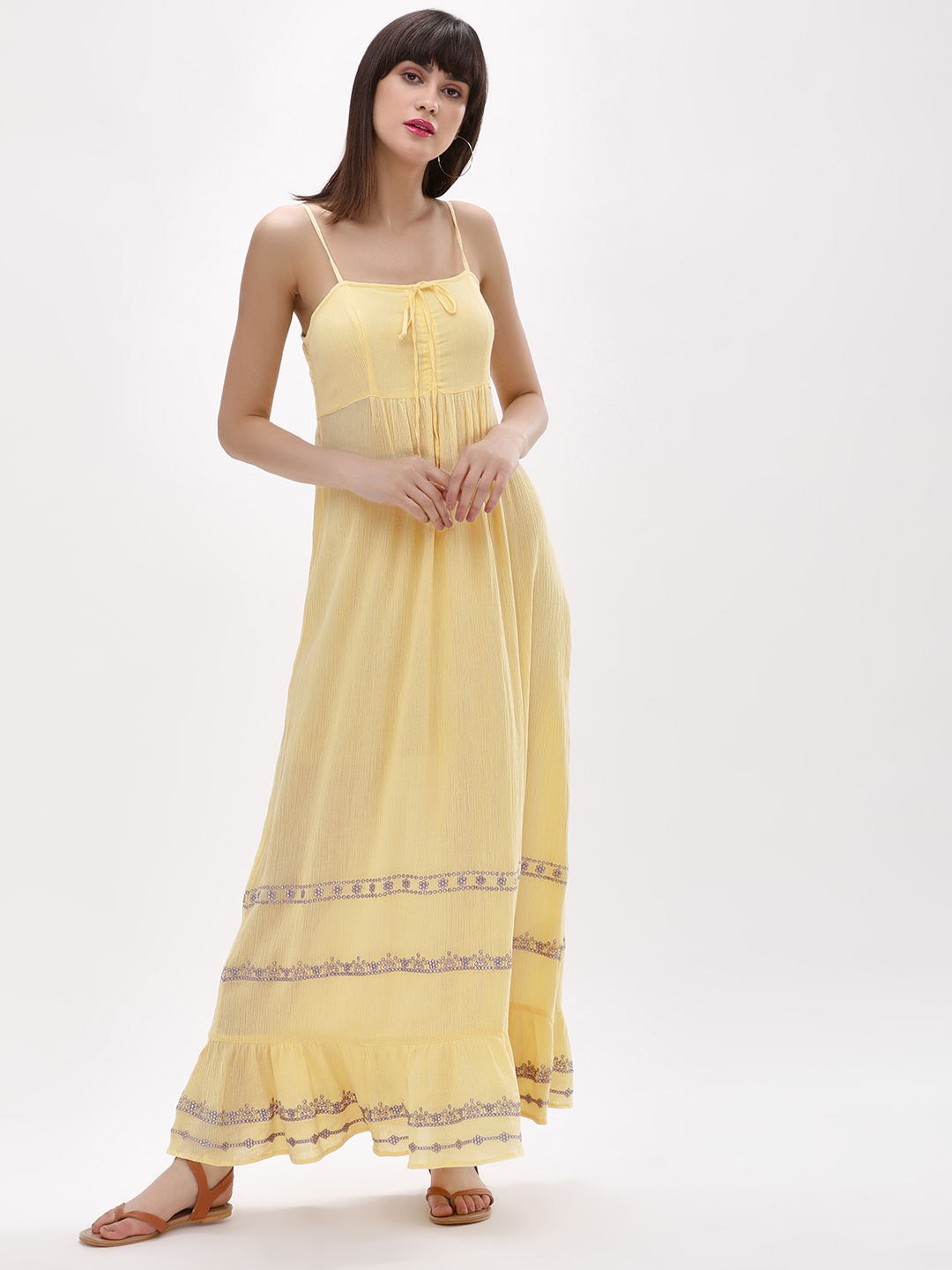 KOOVS Yellow Embroidered Cami Maxi Dress 1
