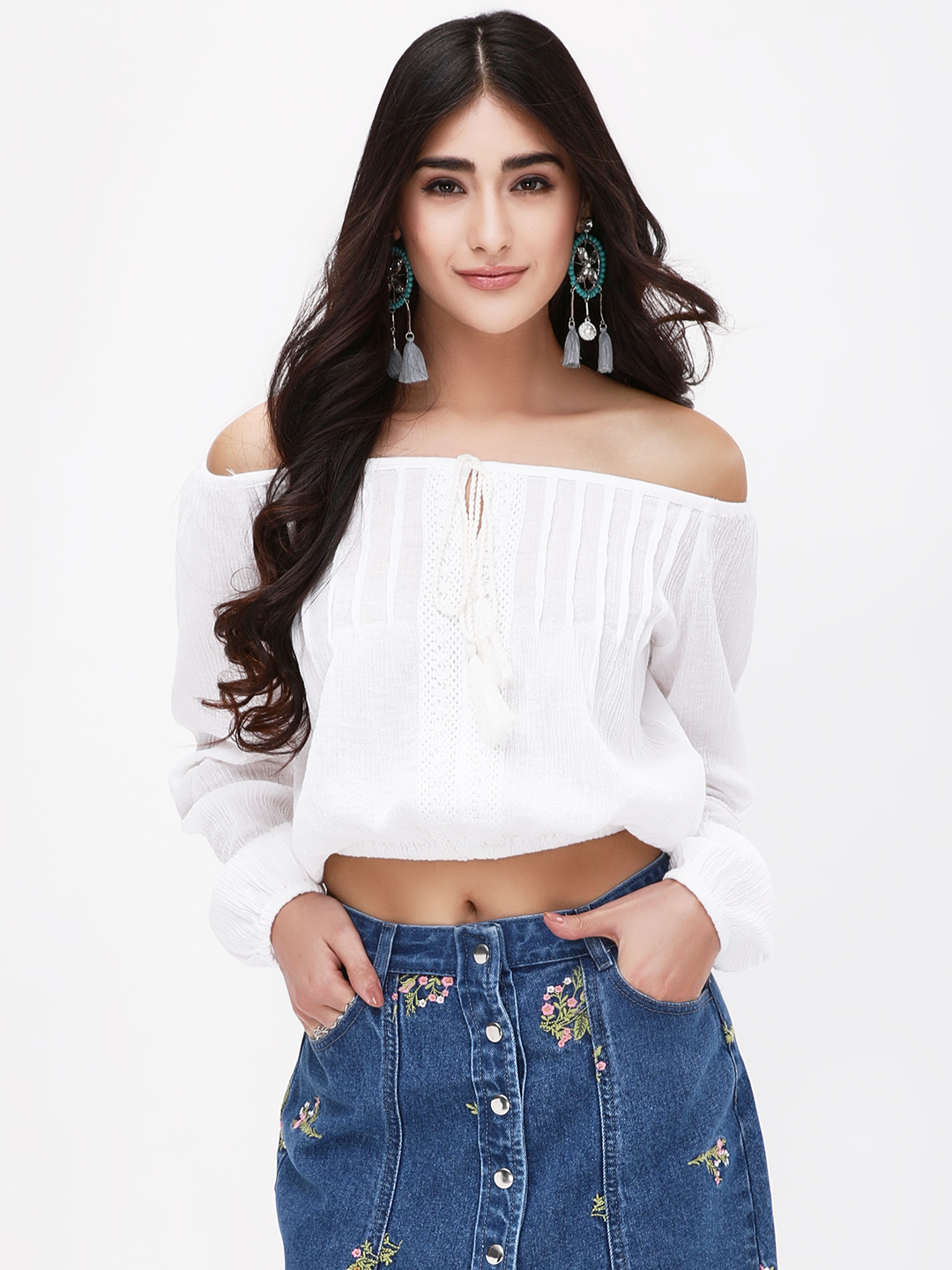 KOOVS White Cropped Off Shoulder Top 1