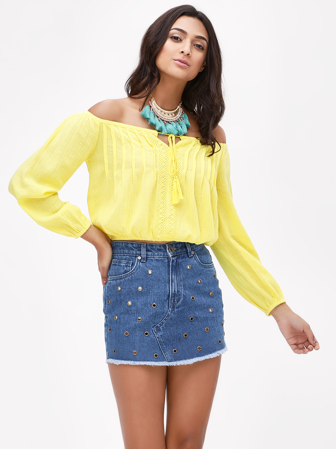 KOOVS Yellow Cropped Off-Shoulder Top 1