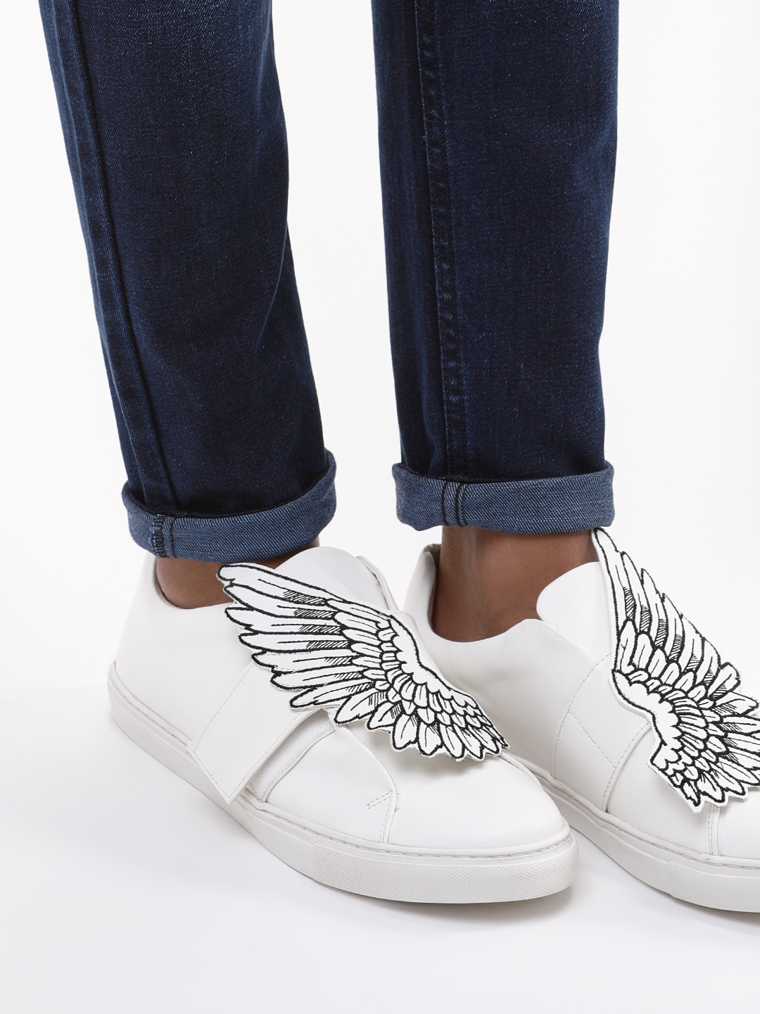 KOOVS White Wing Embroidered Slip-On Sneakers 1