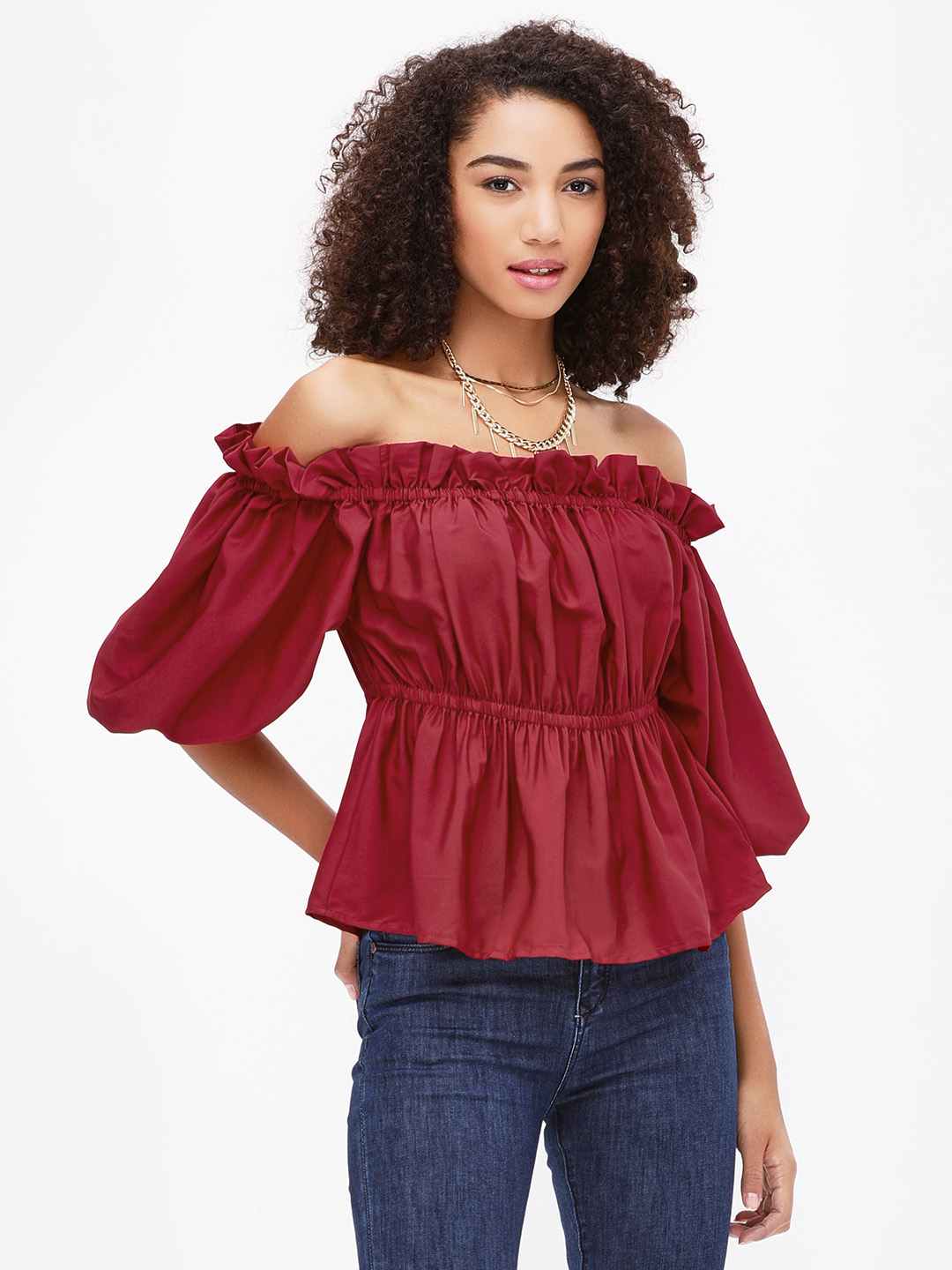 Noble Faith Red Off Shoulder Ruffle Top 1