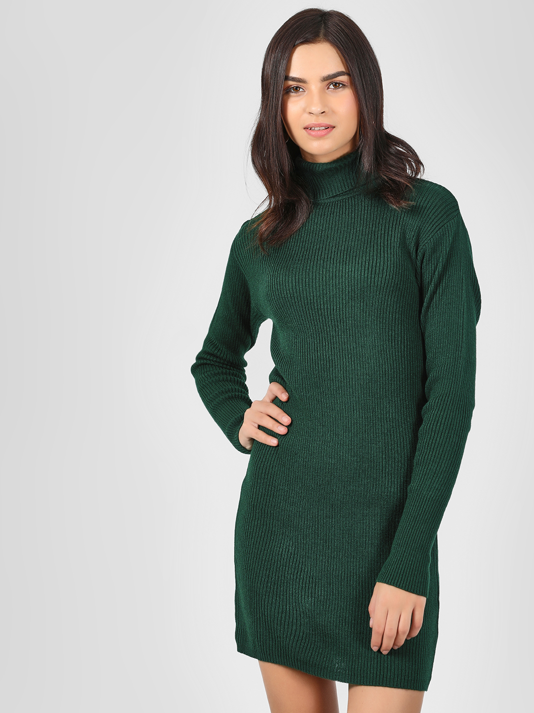 KOOVS Green Roll Neck Ribbed Dress 1
