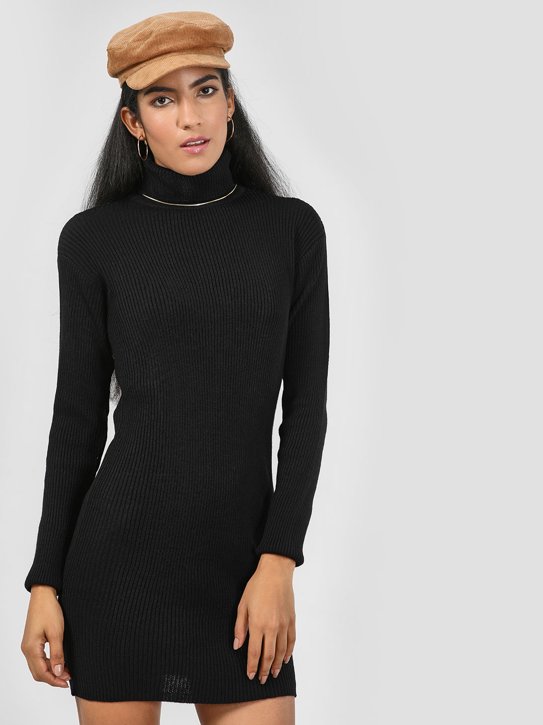 KOOVS Black Roll Neck Ribbed Dress 1
