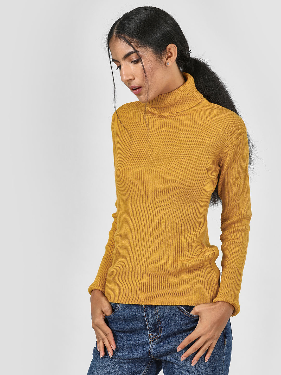 KOOVS Yellow Roll Neck Ribbed Pullover 1