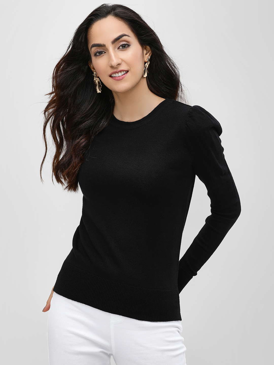 KOOVS Black Ruffle Shoulder Pullover 1